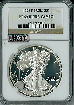 1997-P SILVER EAGLE NGC MAC PF-69 UHCAM 2nd FINEST GRADE SPOTLESS  .