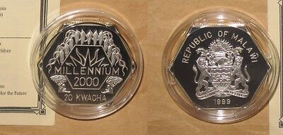 1999 MALAWI Millennium $20 KWACHA Dollars Proof silver coin with COA