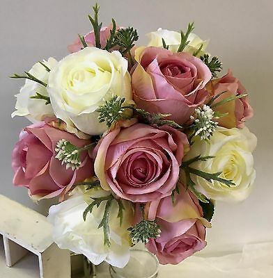 silk wedding bouquet pink cabbage roses cream rose bridal bouquets flowers posy