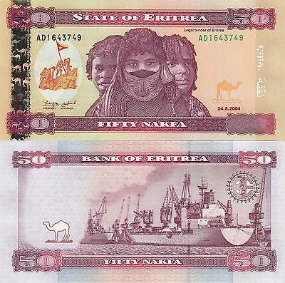 Eritrea 50 Nakfa (2004) - Native People/Freighters/p7 UNC