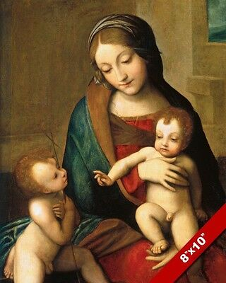 Madonna Mary With St John & Jesus Christ Child Painting Art Real Canvas Print