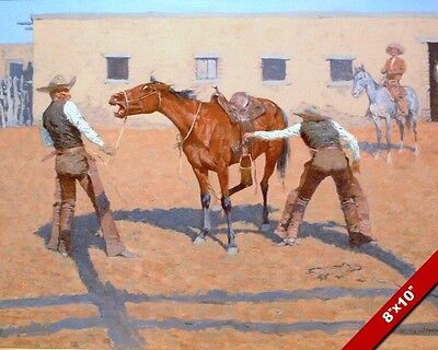 Breaking The Horse First Lesson Remington Art Oil Painting Print On Real Canvas
