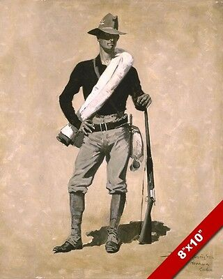 The American Soldier Us Army Remington Oil Painting Print On Real Canvas 1898