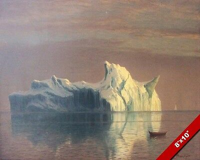 The Majestic Iceberg Atlantic Ocean 1800'S Oil Painting Art Print On Real Canvas
