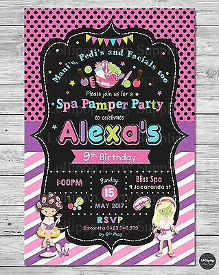 Pamper Spa Party Birthday Invitations Invite Party Supplies Beauty Facial Mani