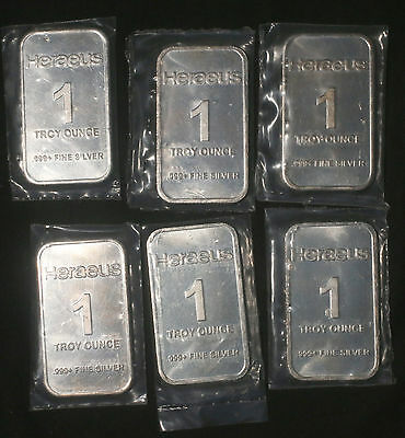 Six (6) Heraeus 1 Oz 0.999+ Fine Silver Bars  Lot 310840
