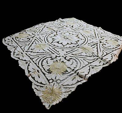 Vintage embroidered and cutwork intricate lace tablecloth measuring 120cm square
