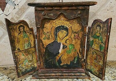 Antique Greek Orthodox Icon Triptych Mother Of God, St George & St Demetrius 18t