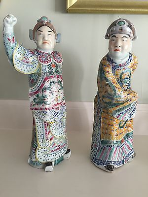 2 Chinese 'Manchu Dynasty' Antique Porcelain Figures