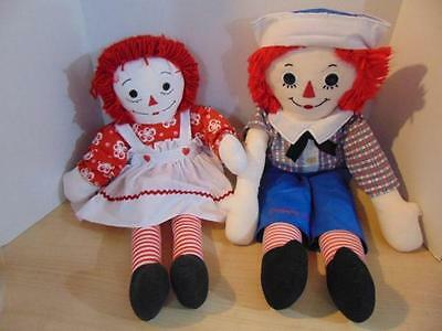 Vintage Raggedy Ann and Andy Large Handmade Rag Dolls Large 26 - 30 inches