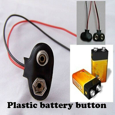 10pcsT-Type 9V Battery Clip Battery Holder With 15cm Cable Wire Lead Connector