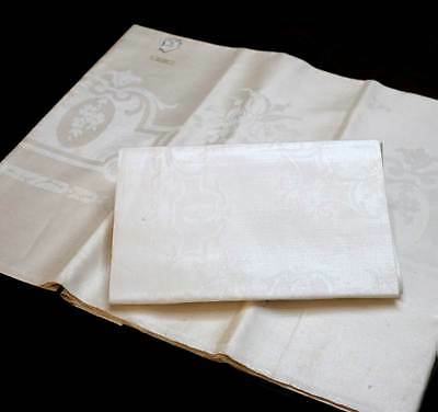 Two vintage pure Irish linen cream damask lengths of fabric - fantastic quality.