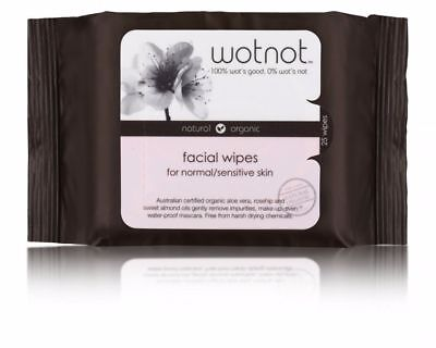 Wotnot Facial Wipes Normal Sensitive 25 Pieces Soft Pack Make Up Remover