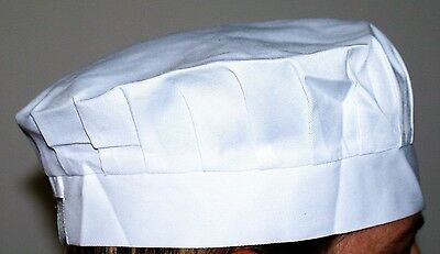 5 x White chefs, bakers cap hat  skull /scull caps Adjustable  rear strap