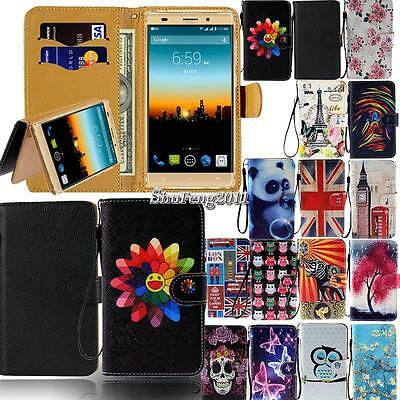 Leather Flip Card Wallet Stand Cover Case For Various Posh Mobile SmartPhones