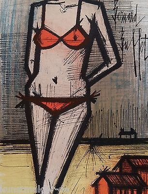 BUFFET Bernard (1928-1999) Original Lithographie 1967 : Am Strand