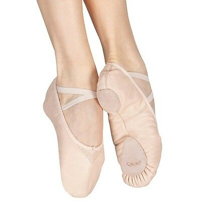 Pink leather capezio cobra 2033 split sole ballet shoes -all sizes