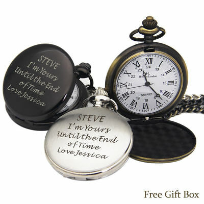 Personalised Engraved Pocket Watch Fathers Day Gift Birthday Best Man Groomsman