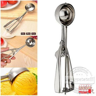 1/3 x Stainless Steel (4+5+6cm) Scoop for Ice Cream Mash Food Spoon Kitchen Ball