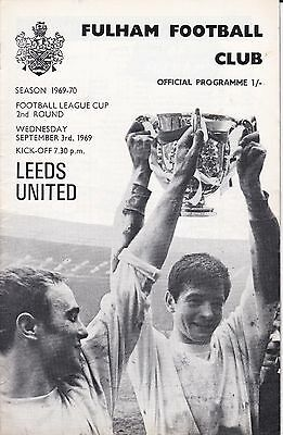 FULHAM v LEEDS UNITED ~ FOOTBALL LEAGUE CUP 2ND ROUND ~ 3 SEPTEMBER 1969