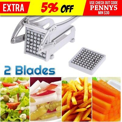 2 Blades Stainless Steel French Fries Slicer Potato Chipper Cutter Chopper AU