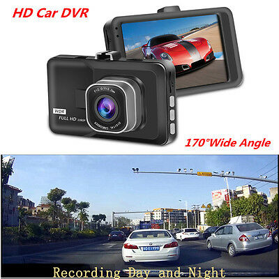 "3"" Full HD 1080P Car Dash Cam DVR Camera G-sensor Video Recorder 170° Wide-Angle"