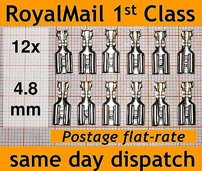 12x 4.8mm Crimp Terminal Female Spade Connector Uninsulated eg for microswitches