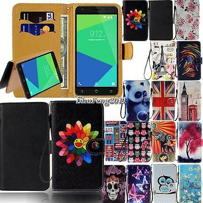 Leather Flip Card Wallet Stand Cover Case For Various NUU Mobile SmartPhones