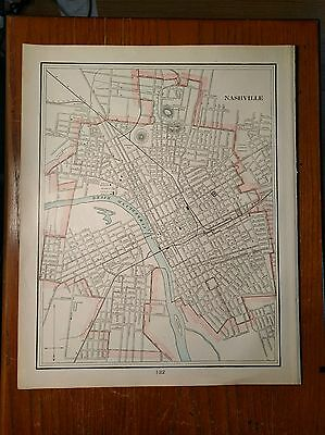 "1902 NASHVILLE TENNESSEE Map Antique Original Printed ""Upside Down"" RR  MAPZ42"