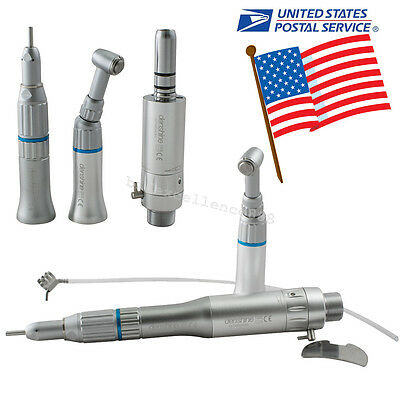 Dentist Dental Low Speed Handpiece Kit Push Button Contra Angle Air Motor 2 Hole