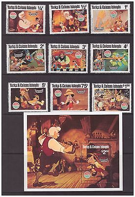Turks & Caicos Islands 1980 Disney Pinocchio Animation, Cartoons set MNH mint