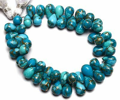 """Natural Gem Copper Turquoise 10x7MM Approx. Smooth Drop Shape Briolette Beads 7"""""""