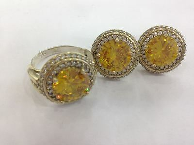 925 Sterling Silver Handmade Jewelry  Citrine Earrings & Ring Set