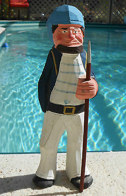 Hand Carved Wood Nautical Navy Sailor Seaman New England Folk Art Sculpture
