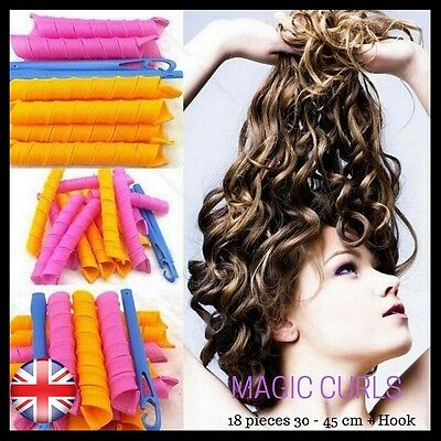 Magic Hair Curlers No Heat DIY Styling Roller Spiral Circle 18/36pcs 20-45cm