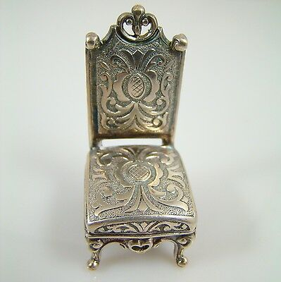 Lovely Ornate Sterling Silver 925 Miniature Chair