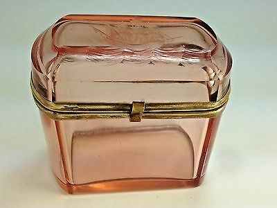 Antique French Pink Etched Ship Design Glass Casket Trinket Jewelry Hinged Box