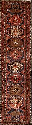 Geometric Hand Knotted Runner 3x11 Malayer Hamadan Persian Oriental Rug Wool