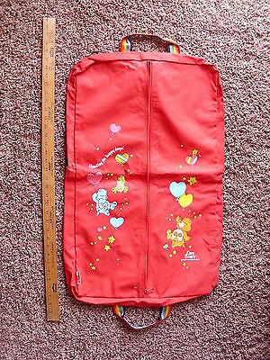 1983 Care Bears Garment Bag American Greetings Zipper Suitcase Kids Luggage Ex+