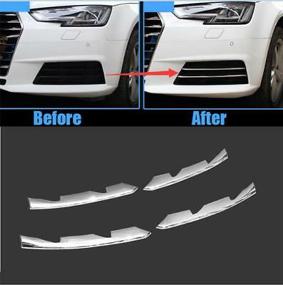 4pcs ABS chrome Front Fog Light Lamp stripe Cover trim For Audi A4 B9 2017