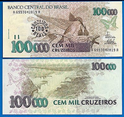 Brazil P-238 100 on 100,000 Cruzeiros Year 1993 ND Uncirculated