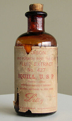 Antique/VTG Drug Store Pharmacy Apothecary Medicine Bottle POISON Squill RX417
