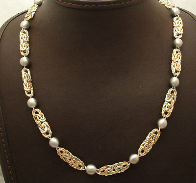 Technibond Byzantine and Ball Link Chain Necklace 14K Yellow Gold Clad Silver