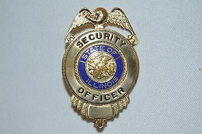 State Of Illinois Security Officer Guard  Badge  Gold Tone