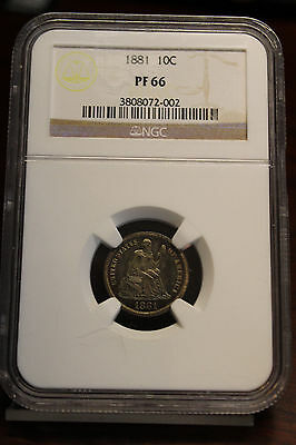 1881 Proof Seated Liberty Dime NGC PF 66 Colorful Toned Example Sharp Coin