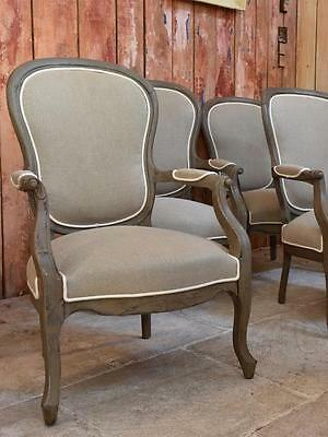 Upholstered pair Louis Philippe French antique armchairs