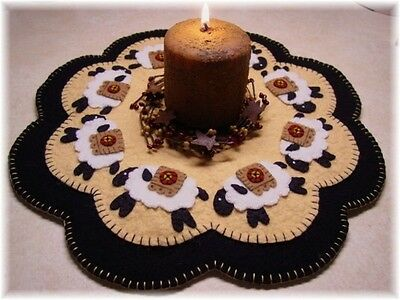 Prim Wool Felt Candle Mat Kit, Penny Rug Kit, Penny Sheep, Embroidery Kit