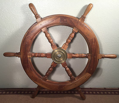 "Vintage 30"" SHIP WHEEL Solid Brass Center 6 SPOKE Nautical Marine Wood"
