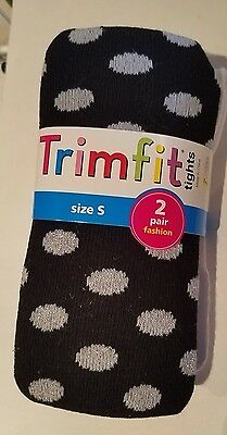 Girls Trimfit Brand 2 pack Sweater Tights Various Colors Style Size Small 4-6