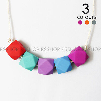 Baby Chewable Silicone Hexagon Pendant Teething Necklace for Mom BPA Free